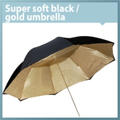 Umbrella Super Soft Black/gold 120cm - VL.00057