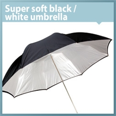 Umbrella Super Soft Black/white 120cm - VL.00056